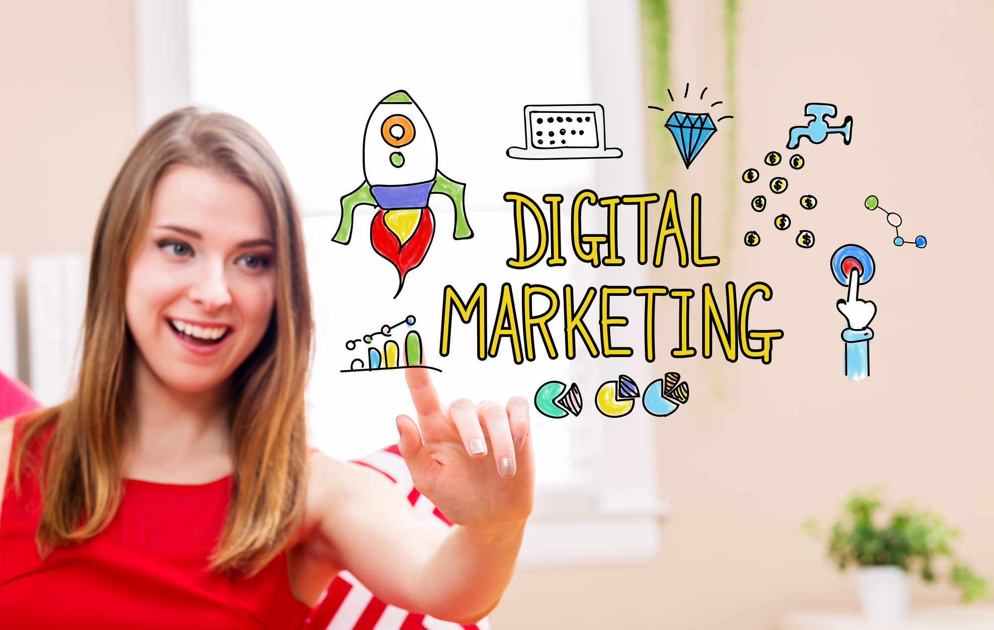 Digital Marketing concept with young woman in her home